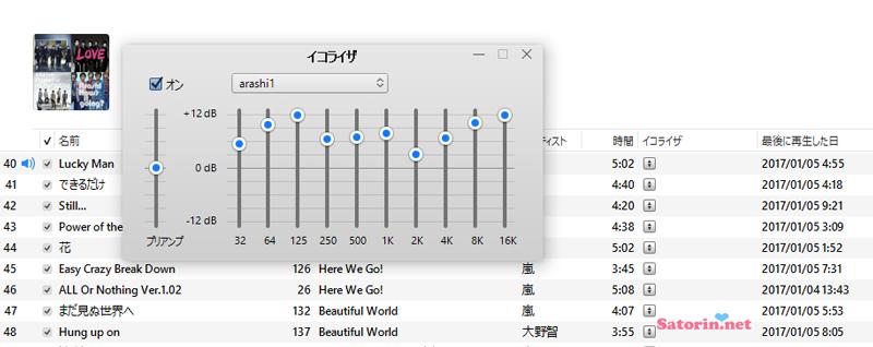 iTunesイコライザ設定画面